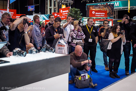 Attendees taking pictures at the Photography Show 2015