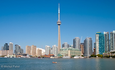Canoeing on Lake Ontario by CN Tower - Toronto, Canada
