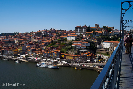 View of the historic old town of Porto from the Dom Luis I bridge - Porto, Portugal. The historic old town of Porto has been declared by UNESCO as a world heritage site.